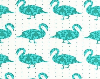 Organic cotton, Modern Whimsy Goose Fabric in Park , yard