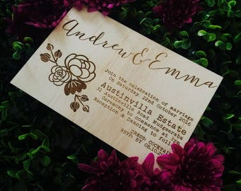 Rustic wedding invitation - Timber wedding invitation - Floral Design - Pack of 10