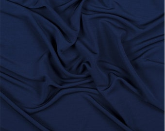 Navy Blue Matte Jersey, Fabric By The Yard