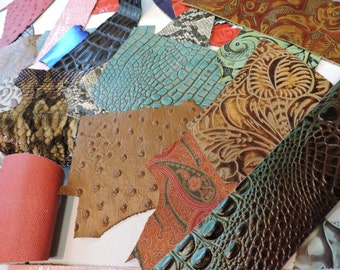 Embossed Scrap Leather Pieces. Assorted Leather. Assorted Printed Leather 1lb Bag