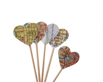 24 Map Atlas Heart Cupcake Toppers, Toothpicks, Party Picks, Food Picks - No1045