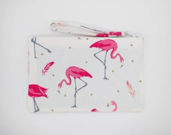 Pink and white Flamingo print clutch, purse