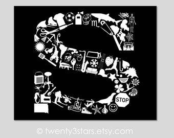 Letter S Monogram Art, Words Beginning with Letter S, Nursery Wall Art, Baby Shower or Wedding S Poster Print, S Initial Art