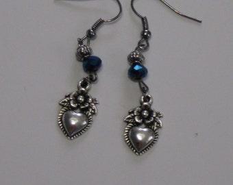 Silvertone Heart Blue Beaded Wire Earrings