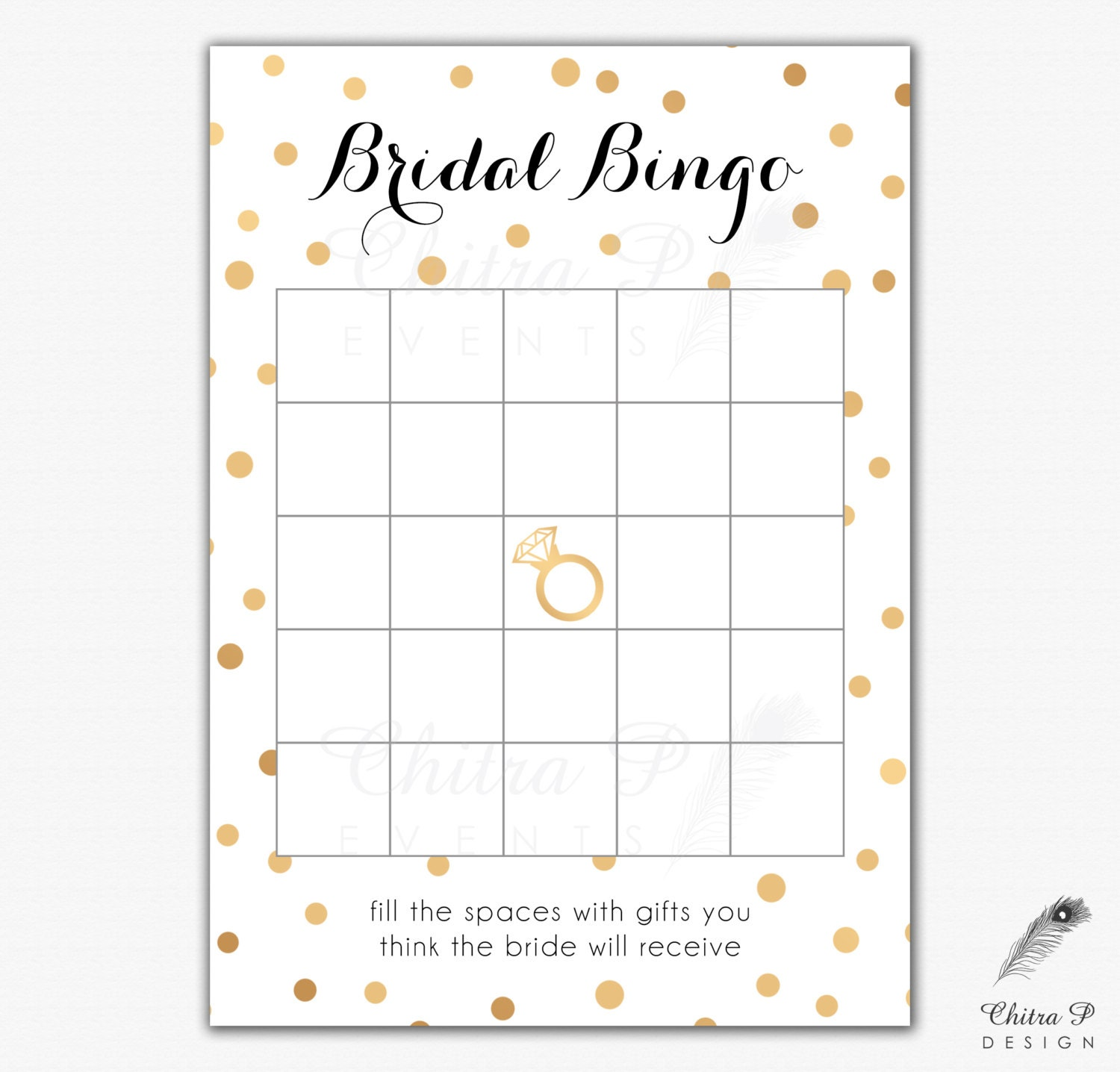 Black gold bridal shower bingo cards printed or printable zoom pronofoot35fo Images