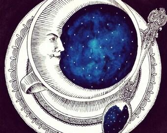 Black Moon in a Teacup print 13x13cm