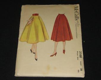Vintage CUT 1950s McCall's 3168, Full skirt w/Pockets, Waist 28