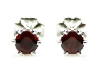 Red Garnet Stud Earrings Sterling Silver Garnet Post Earrings January Birthstone Round Gemstones Garnet Earrings Garnet Jewelry 4MM Round