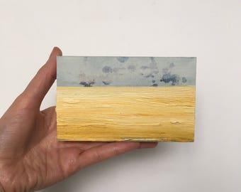 Abstract Landscape, Yellow, Original Landscape Painting, Field, Corn Field, 3x5 Small Oil On Wood, Little Wall Studio,