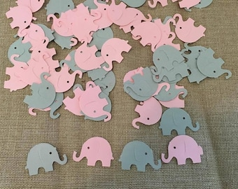 100 Piece Elephant Confetti, Baby Shower Confetti, Elephant Baby Shower, Pink and Grey Elephant Confetti,