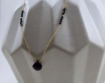 Black and Gold Gemstone Necklace, Minimalist Jewelry, Black Spinel Briolette Necklace