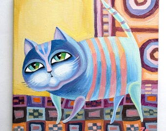 striped cat Paintings on canvas cat Oil painting canvas Art oil canvas  painting animal Abstract animal art Pictures oil painting Decorative