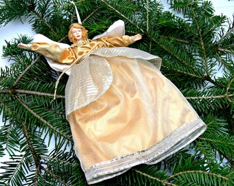 Christmas Angel Ornament, Large Vintage Hanging Tree Decoration
