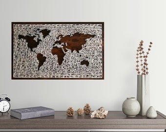 26x16 World Map Wall Art   String Art Map   World Map Art   Map Wood Sign   Travel Artwork   Wanderlust   World Map String Art  