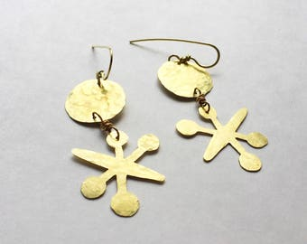 jacks earrings, atomic jacks earrings, whimsical earrings