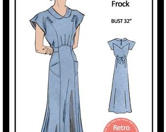 1930s  Tea Frock Sewing Pattern - Full Size Paper Pattern
