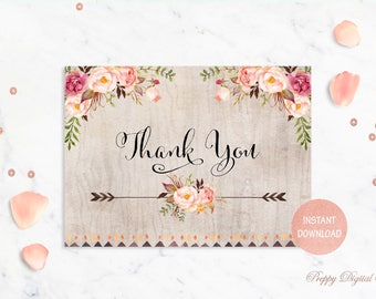 Rustic Thank You Card Printable Thank You Card Wedding Thank You Bridal Shower Thank You Baby Shower Thank You Blush Thank You Card