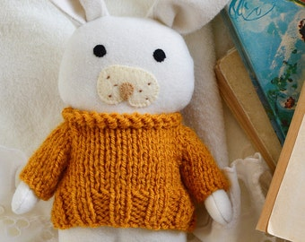 Sunflower bunny soft toy, stuffed toy animal,bunny doll, soft toy, white bunny rabbit, gift for baby, yellow doll, rag doll, nursery decor