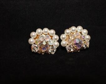 SALE Vintage Swarovski Crystal and Pearl Clip On Earrings, Mid Century, Vintage, Formal Large