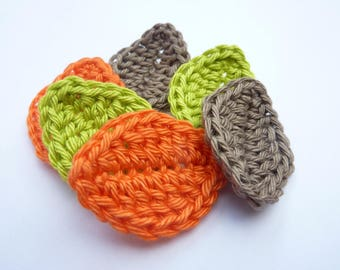 Leaves Orange green and Taupe crocheted 100% handmade - set of 6
