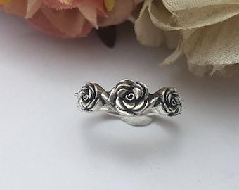 Silver Rose Ring,Flower ring,Vintage Rose Ring, Sterling Silver 925,Black Oxidize
