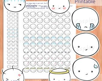 Emotion Faces Sticker Set, Printable Planner, diy Erin Condren, mood clip art, Emotion, Filofax, Midori, Kawaii, Mood Tracker