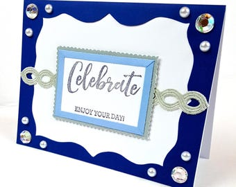 Celebrate Enjoy Your Day! Birthday Card Blue and Silver