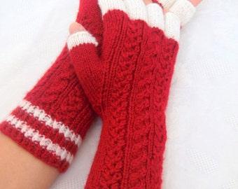 Red and White Half Finger- Fingerless Gloves
