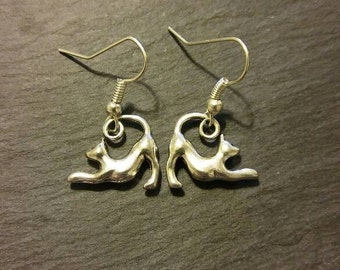 Stretching Cat Charm Earrings
