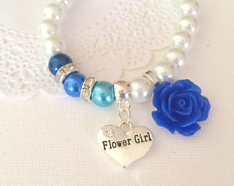 Flower girl, flowergirl, blue, sapphire, rose, stretchy pearl bracelet. CHILD sized.