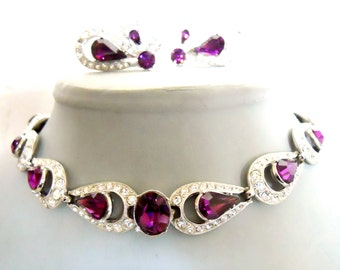 ORA choker a clip earring set in purple and clear crystals Vintage rhinestone necklace set  stunning design signed costume jewelry cocktail