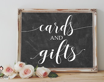 Gifts and Cards Sign | Instant Download | 8x10 11x14 16x20 | Print it yourself! | GC001 Chalk