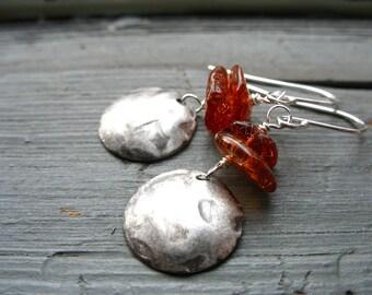 Amber Earrings, Handmade Amber Stone Silver Dome Earrings, Baltic Amber Jewelry, Handmade Metalwork Artisan Jewelry
