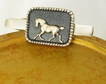 Vintage Horse Enamel Tie Clip Equestrian Rodeo Rancher Holiday Birthday Tie bar