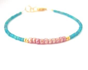 Blue Rose Friendship Bracelet, Seed Bead Beaded Bracelet, Blue Dusty Rose Glass Petite Bead Miss Ceces Jewels Hawaii Jewelry