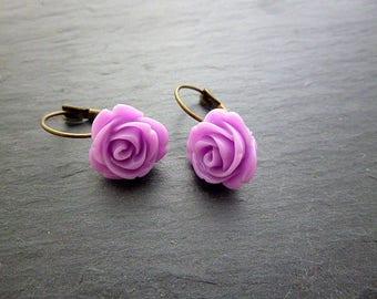Earrings purple resin flowers