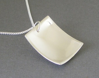 Rectangle Sterling Silver Necklace - Reversible Scoop
