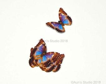 Small Paper Butterflies, Realistic 1 inch Paper Butterflies, 12 Purple Morpho Butterfly