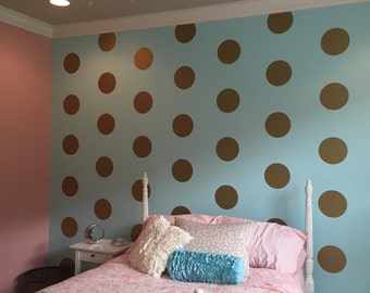 "10"" Gold Polka Dot Vinyl Wall Decals / Polka Dot Wall Decals/ Kids Room Wall Decal / Nursery Wall Decal / Circle Wall Decal"
