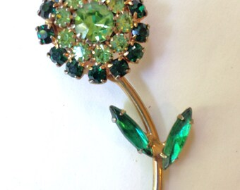 Green Rhinestone Flower Brooch Pin Vintage 50s