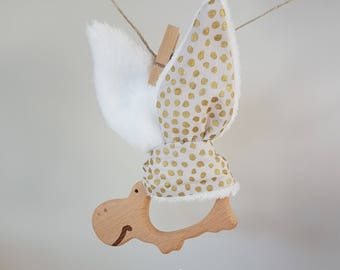 Teething ring wooden rattle and gold polka dot bunny ears