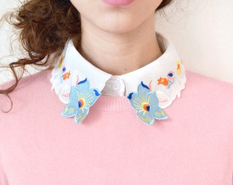 Pastel Flower Shaped Detachable Embroidered Peter Pan Lapel Fake Collar/Half Shirt