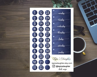 Date cover stickers for Dark Magic weekly kit, black and white date dots, monday to sunday, for Erin condren life planner