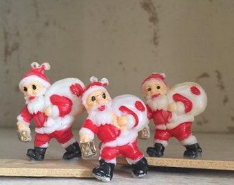 Set of Three Tiny Plastic Vintage Santa Accents for Crafts