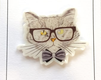 Cool cat with glasses pin