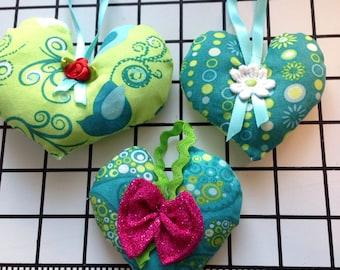 Set of 3 heart ornaments ready to ship