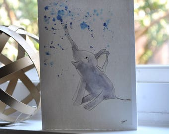 Beautiful Watercolor made by 8 year-old artist: Happy Elephant
