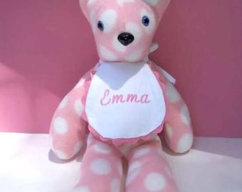 Fleece Teddy Bear/Pink and White Polka