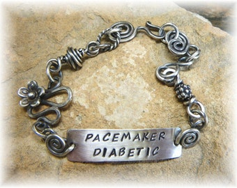 Sterling Silver Bohemian Swirl Medical ID or Personalized Medic Alert Bracelet  - Diabetes Asthma Made to Order - Handmade to Order