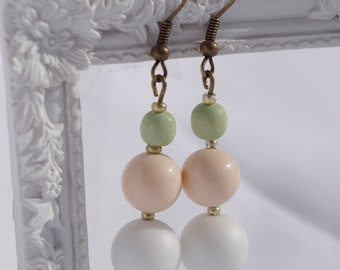 White and pink earrings pink, white and green beads earrings